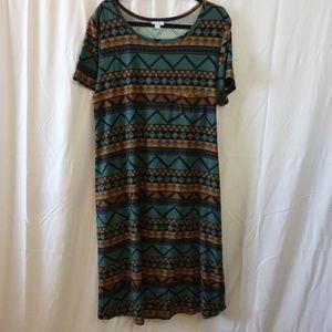 LuLaRoe Carly Dress 2X Teal Geometric Pattern